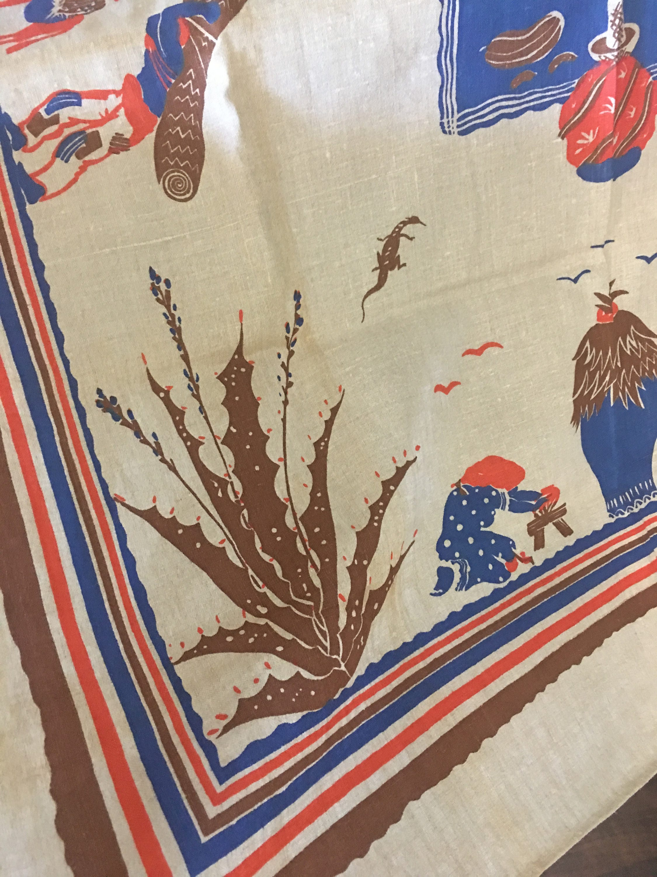 FIESTA Talavera Blue and Red Southwest style vintage tablecloth
