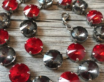 Red & Transparent Gray Swarovski Necklace