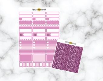 Dark Magenta Functional Stickers and Headers   Erin Condren