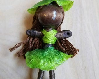 Flower Doll, Flower Fairy Doll, Flower Girl, Fairy Doll, Waldorf Doll, Bendy Doll, Green Flower Fairy Doll,  Green Flower Doll, OOAK Doll