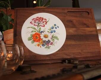Cheese Tray Serving Board Vintage - Platter Flower Tile Dark Wood