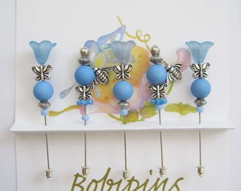 Five Blue Flowers with Silver Bees Friendship Pins for Sharing, Quilting, Sewing, Scrap Booking, etc.