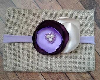 Eggplant Lilac baby headband, Flower baby headband, Purple flower headband,  Violet flower headband, singed flower headband, headband prop.