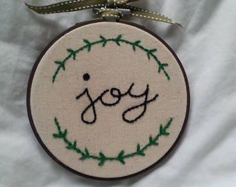 Embroidery Hoop- Joy- Christmas