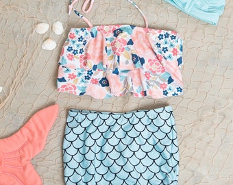 Cute High Waisted Mermaid Bikini Swimsuit- Two Piece Bathing Suit- Floral with Mermaid Bottom