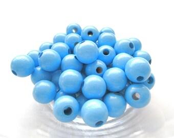 50 wooden pacifier clip 8 mm - sky blue beads