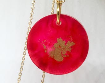 Reddish Pink and Gold Pendant