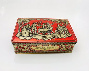 Vintage Callard And Bowser's Really Wholesome Confectionery Tin, Red and Gold Metal tin