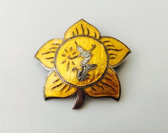 1930s Siam Brooch, Yellow Enamel Flower Silver Siam Brooch and Pendant