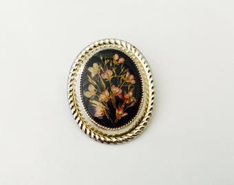 Vintage Dried Flowers In Plastic Brooch with Silver Metal Border