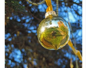 Golden Baubles - Blank Christmas Card
