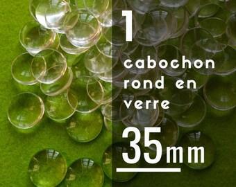 1 cabochon 35 mm round glass - 35 mm - 3.5 cm