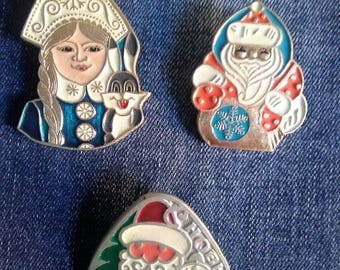 Rare New Year's badges, Soviet badges of the USSR, New Year's badges, Father Frost, Snow Maiden, 1970-80.