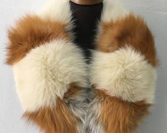 Beautiful Real Natural Cream Canadian Fox Fur Collar