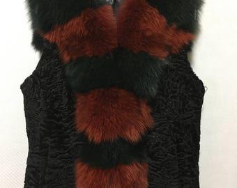 Swakara  Vest With Fox Fur