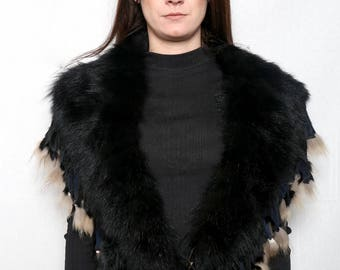 Genuine Real Black & brown Fox Fur Collar