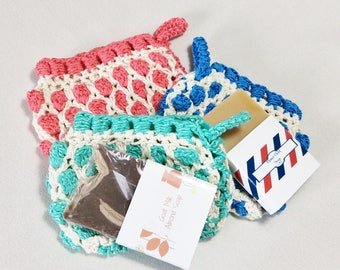 Crochet Moroccan style soap saver bag Blue/White