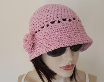 Cotton Cloche Hat, Spring Hat, Summer Hat, Garden Hat, Women Adult Hat,