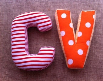 A cuddly letter, 2 letters cushions, pillows, cushions, personalised cushions