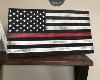 Rustic Thin Red Line Wooden American Flag Distressed Burnt