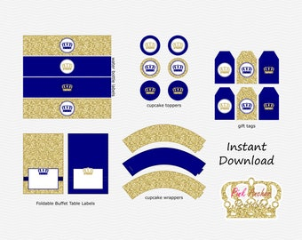 SALE Navy Blue & Gold Glitter - Crown - Little Prince Boy Baby Shower - Birthday Party  Party Pack - DIY Printable - INSTANT Download