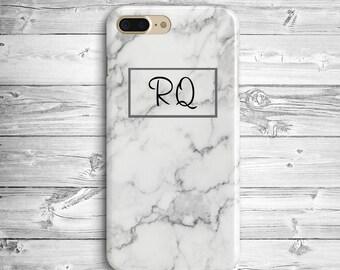 Initials Marble iPhone 7 Plus Case iPhone 6 7 Plastic Case iPhone SE Custom Initials Case Samsung Galaxy S5 S6 S7 Edge White Marble Case