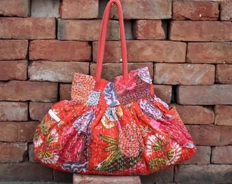 kantha Tote Shoulder Bag handle bag recycled kantha bag inside pocket bag jhola bag