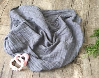 Large Graphite Muslin swaddle blanket/ Grey  Blanket / Muslin Swaddle /Double Gauze blanket /Personalized Swaddle