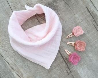 Baby Pink Double Gauze/Muslin Bandana Bib pink dribble bib/ boys bib/ girls bandana/ personalized bibdana / monogrammed band