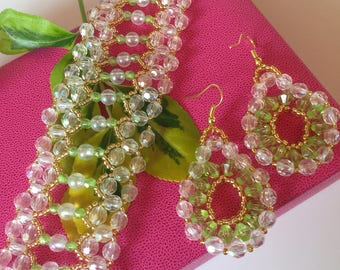 Jewelry set: Necklace, bracelet and earrings