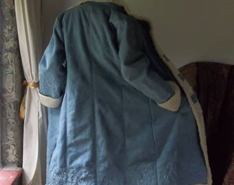 Vintage Long Blue Afghan Faux Shearling Sheepskin Boho Festival Coat Jacket, Dream of the Tundra Swan