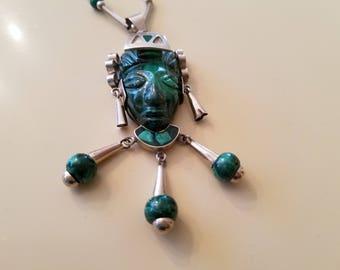 Los Castillo silver and malachite necklace