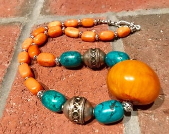 Moroccan Berber Tuareg tribal Tafinagh Tiznit North African beaded amber and turquoise tagmoute eggs / Orange quartzite necklace