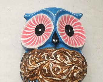 Hand-carved wooden blue owl