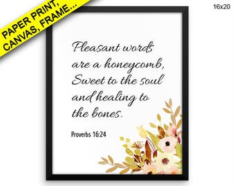 Proverbs Printed Poster Proverbs Framed Proverbs Christian Art Proverbs Christian Print Proverbs Canvas Proverbs proverbs 16 24 bible verse