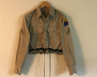 Vintage Khaki Military Cropped Shirt with Cinched Tie Waist
