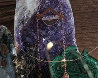 Amethyst & Quartz in Copper Necklace