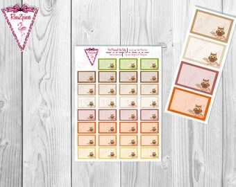 Printable Owl Half Boxes - Functional Stickers w/Cut Line
