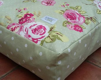 Luxury Sage Spot / Floral Mattress Dog Bed from Designed for Dogs