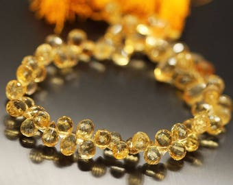 """Golden Yellow Citrine aceted Pear Drop Gemstone Craft Loose Beads Strand 11"""" 8mm 9mm"""