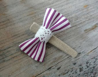 "Hairclip ""crocodile"" (purple and white stripes)"