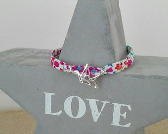 "Liberty of London ""bird"" origami charm cord bracelet"