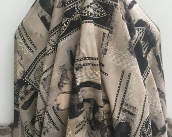 17-312 Abstract Print Black and Cement Taupe Colors - Sold by the Yard