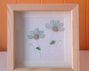 Multi flower sea glass frame
