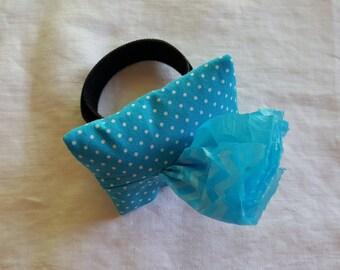 Dog Poop Bag Dispenser - Wrist Wrap - Teal with White Polka Dots