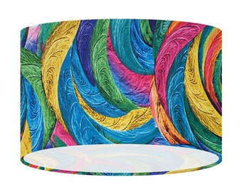 Blue Feathers Fabric Lampshade, Ceiling Lighting, Table Floor Lamp Shade, 20 30 40 cm, Home Decor, Gift For Her