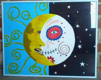 Solar eclipse, sun moon and stars, sun and moon, sugar skull, sugar skull moon, angry sun, sugar skull art