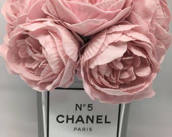 Chanel perfume inspired peony diamanté vase