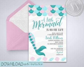 Mermaid Baby Shower, Mermaid Invitation, Mermaid Party Invitation