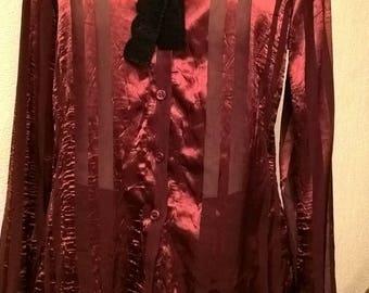 Satin and Burgundy chiffon shirt